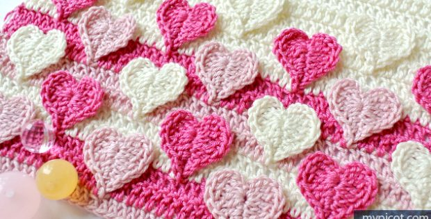 Crochet Blanket Patterns - Heart crochet blanket pattern
