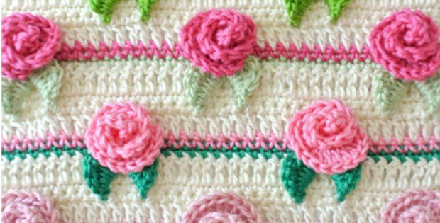 Rosebud Stitch Crochet Pattern Stitch Of The Week crochet flowers - Crochet Rose Pattern