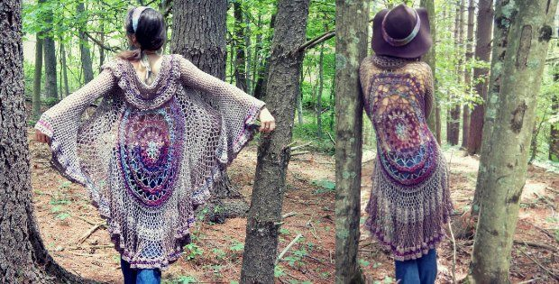 Mandala Crochet Jacket Duster Free Pattern