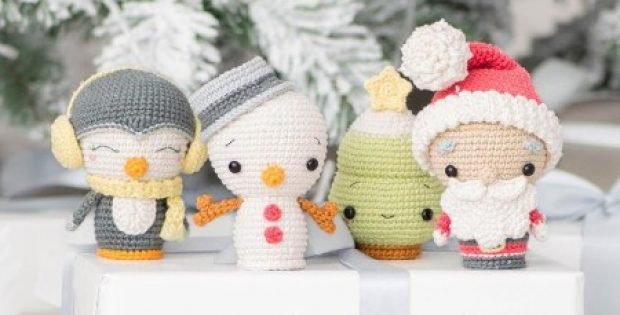 Christmas Crochet Holidays Mini Amigurumi Set Patterns - 4 minis