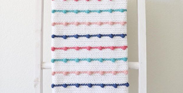 Crochet Baby Blanket Pattern with Bobble Lines