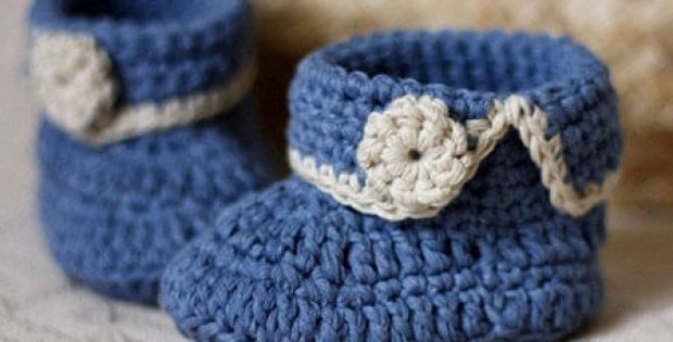 Short Cuff Crochet Baby Booties Pattern