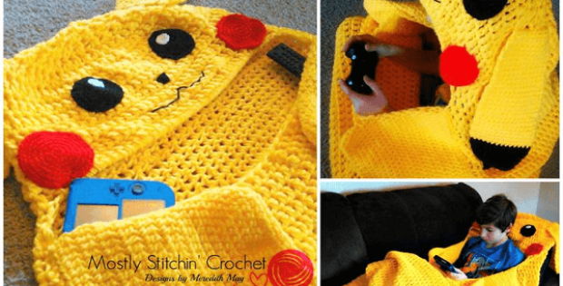 Crochet Pikachu Snuggle Blanket Pattern by Mostly Stitchin