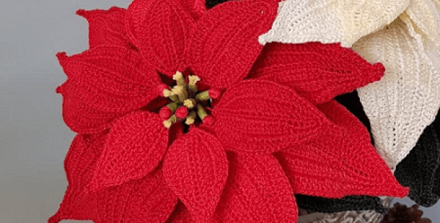 Crochet Christmas Poinsettia Pattern by Pippa Patterns Crochet