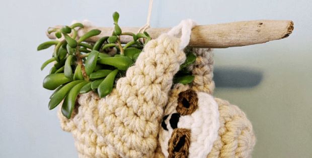 Crochet Sloth Planter Pattern by Hello Happy