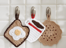 Pot Holder Diner Trio Crochet Pattern by Yarnspirations