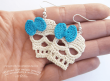 Skull Earrings Crochet Pattern by Crochet Knit Jewelry