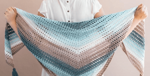 Crochet Beginner Shawl Pattern by Sewrella