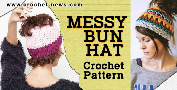 CROCHET MESSY BUN HAT PATTERNS