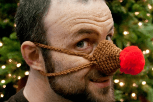 Reindeer Nose Warmer Crochet Pattern by Honey Fiddle