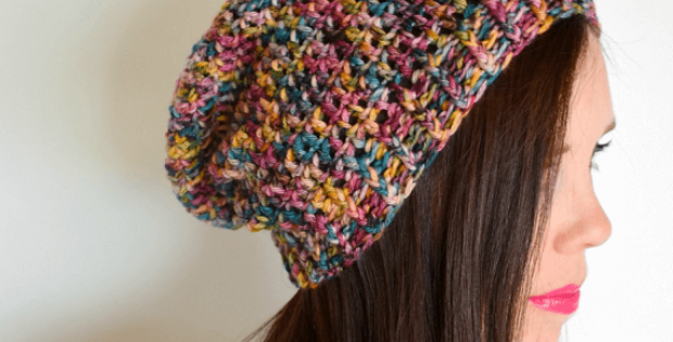 Basic Slouchy Beanie Crochet Pattern by Hooked On Homemade Happiness