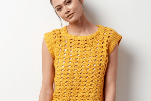 Crochet Yellow Top Pattern by Yarnspirations