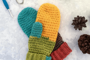 Chroma Mittens Crochet Pattern by Left In Knots