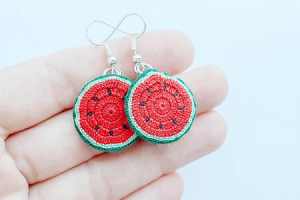 Watermelon Earrings Crochet Pattern by Lucia Knit