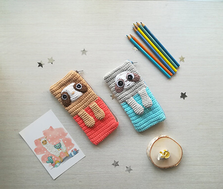 Cute Sloth Crochet Pencil Bag Pattern By NustyUA