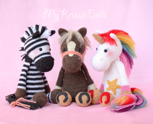 Horse Piem, Crochet Zebra and Unicorn Crochet Pattern Friends