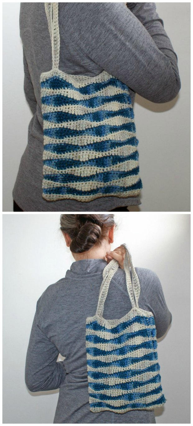 Free crochet pattern for this ocean waves bag