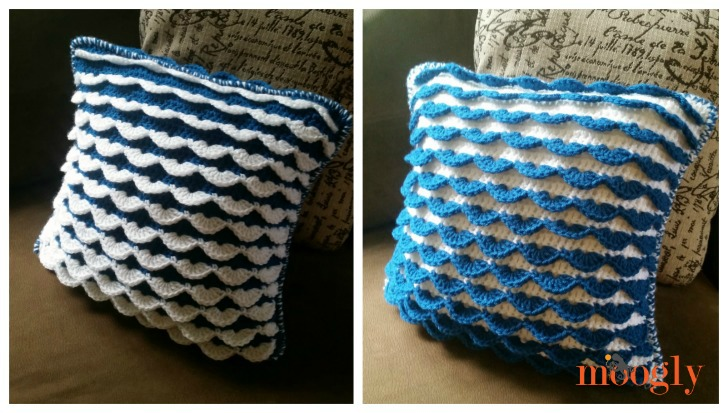 Crochet Pillow Reversible Ruffle Pattern