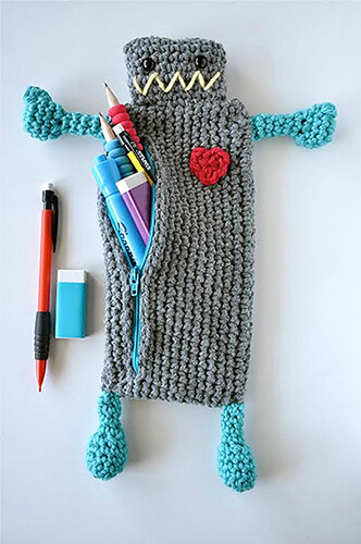 Robot Crochet Pencil Case Pattern By BySincerelyPam