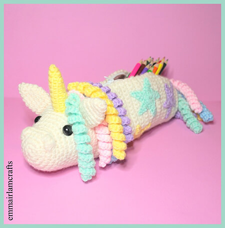 Unicorn Crochet Pencil Case Pattern By Emma Irlam
