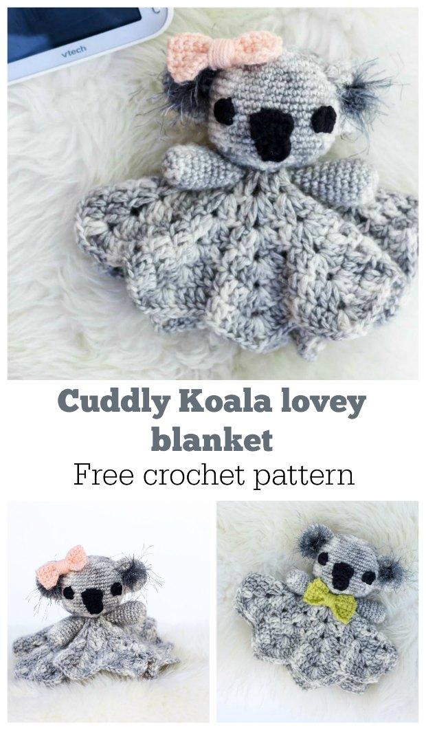 crochet baby blanket - koala baby lovey crochet pattern