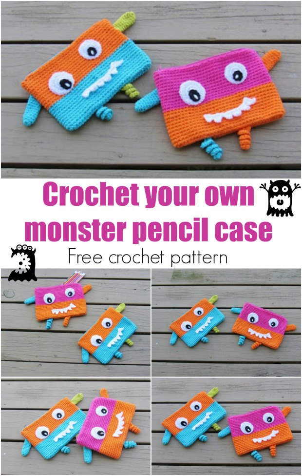 Crochet Pencil Case or Pouch, Free Crochet Pattern