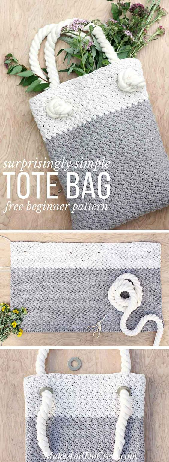 Crochet Tote Bag Simple Easy Free Pattern