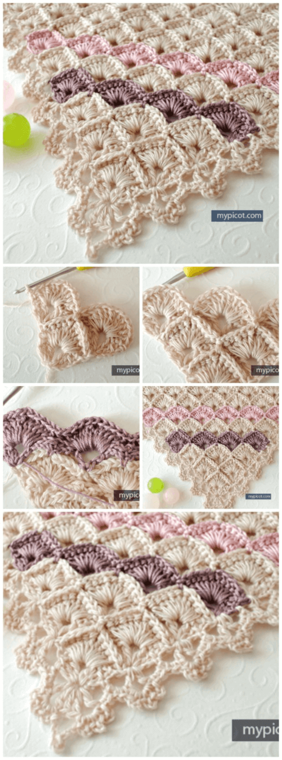 Crochet Box Stitch Triangle Shawl Free