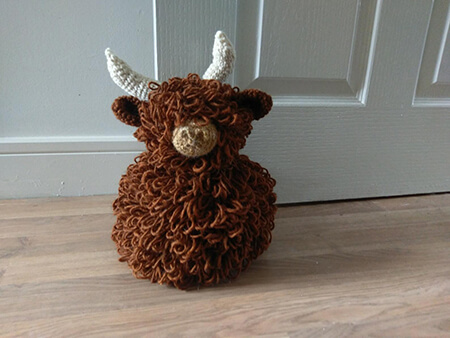 Highland Cow Door Stop Crochet Pattern By TheHookGeekDesigns