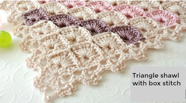 Crochet Box Stitch Triangle Shawl