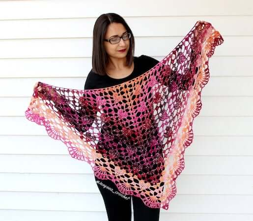 Crochet Lace Heart Shawl Pattern by Lenysea Crochet