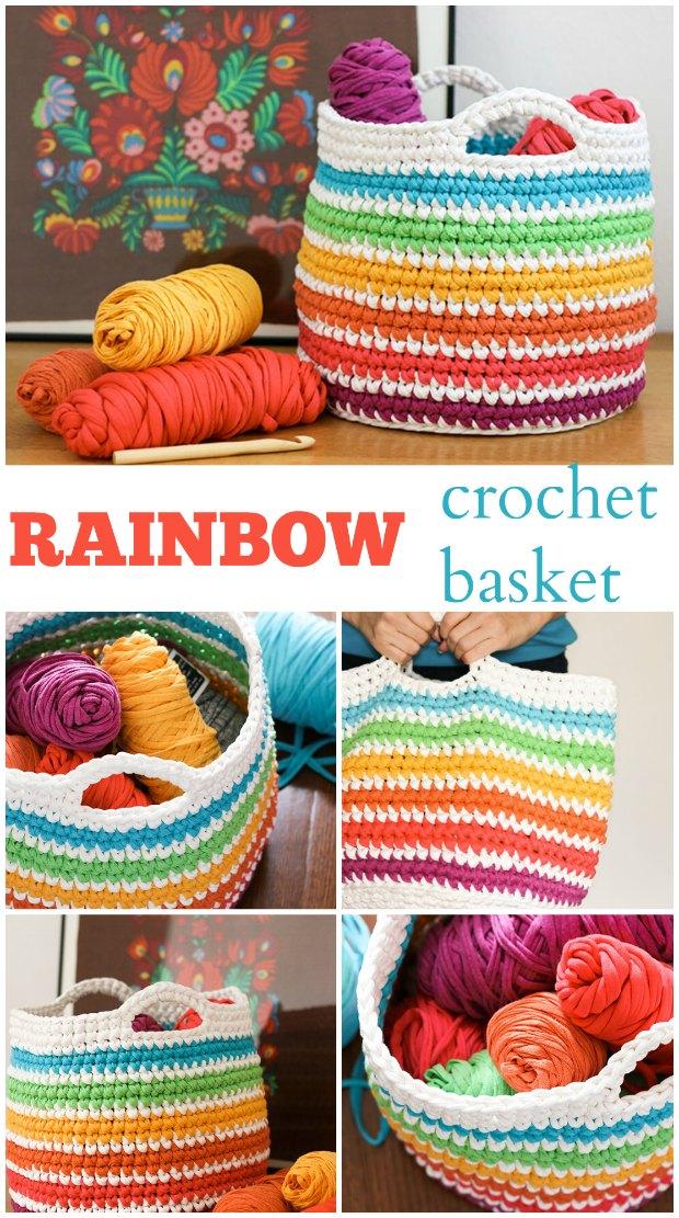 Crochet Basket Pattern Rainbow Free Instructions