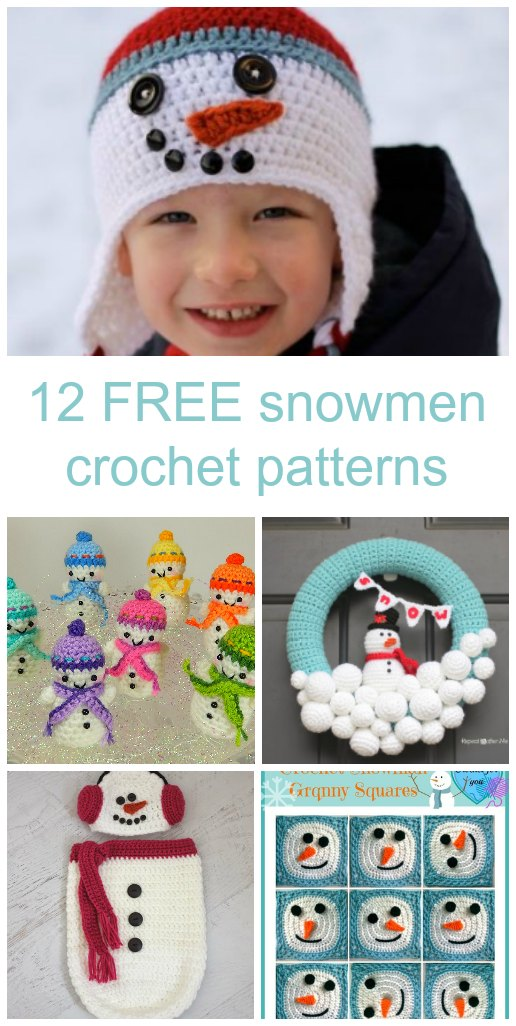 Free snowmen crochet patterns, for everything from hats, to throws and snowman decorations.