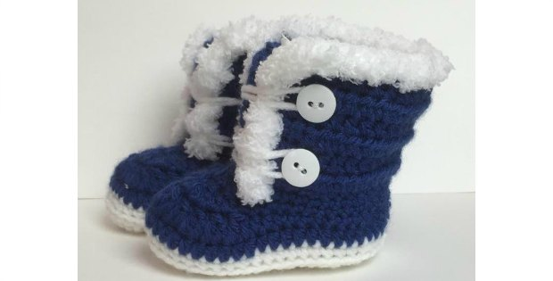 Baby Boots Fur Trim 3-12 Months Old