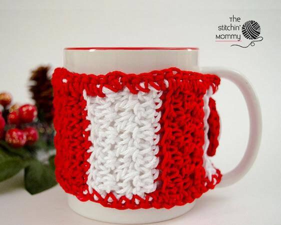 Candy Cane Striped Mug Cozy Crochet Pattern by The Stitchin Mommy