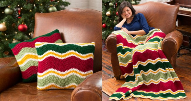 Crochet Blanket Patterns - crochet chevron pillows and blanket set
