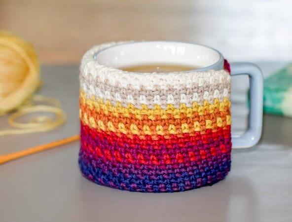 Colorful Crochet Mug Cozy Pattern by Kathryn Senior