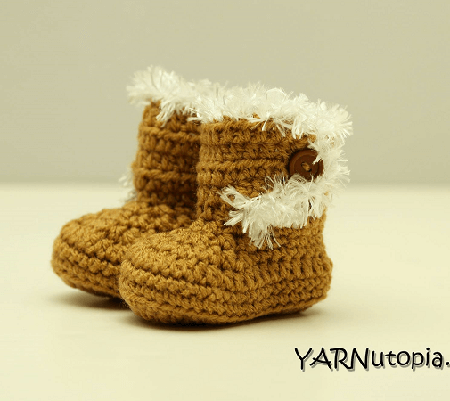 Free Crochet Baby Boots With Fur Pattern by Yarnutopia