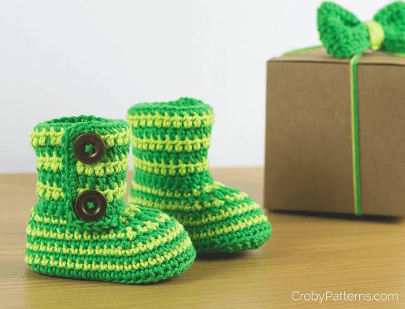 Green Zebra Crochet Baby Boots Pattern by Croby Patterns