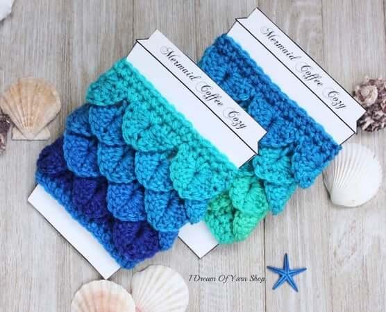 Mermaid Scales Coffee Cozy Crochet Pattern by I Dream Of Yarn Shop