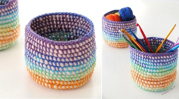 mini crochet basket rainbow pattern