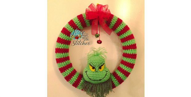 Grinch Christmas Wreath Crochet Pattern