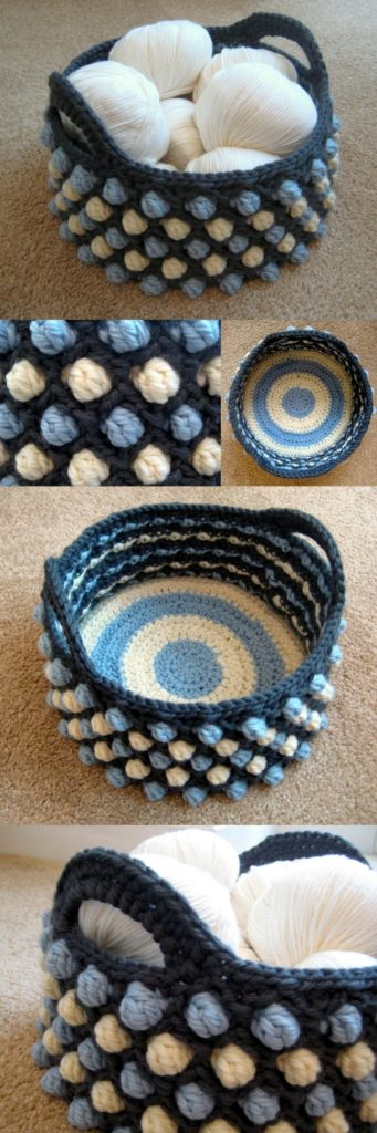 Free crochet pattern for the Honeycomb Pop Basket. Love the texture and the strong handles on this crochet basket.