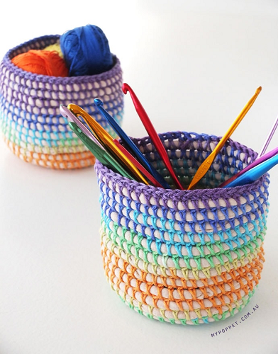 Crochet Coiled Rainbow Basket Pattern by My Poppet Makes