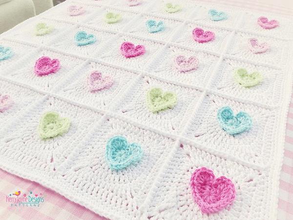 All Heart Crochet Blanket Pattern by Kerry Jayne Designs