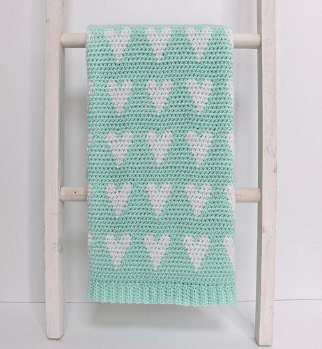 Modern Baby Crochet Heart Blanket Pattern by Daisy Farm Crafts