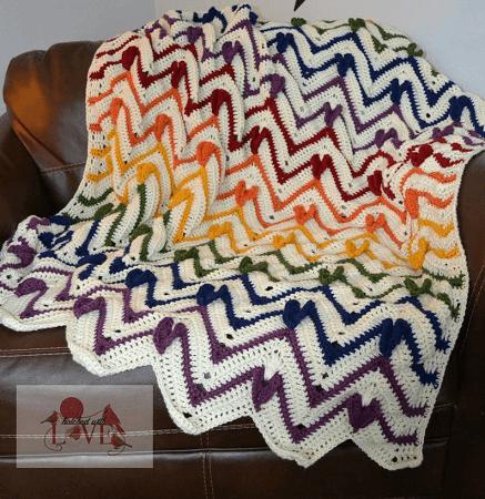 Heartbeat Chevron Blanket Crochet Pattern by Crafting Friends Designs