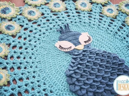 Crochet Crocodile Stitch Peacock Rug