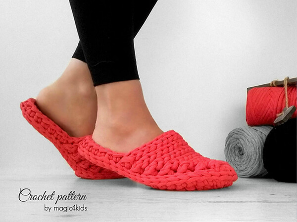 Crochet clogs T-shirt Yarn Pattern By Magic4kids