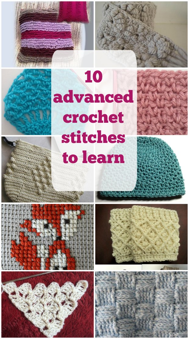Tutorials for 10 fun and textured crochet stitches to learn. Links to patterns so you can try your new stitches too. Good tutorial for crochet stitches.
